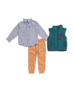 Little Boys 3pc Sweater Vest And Joggers Set