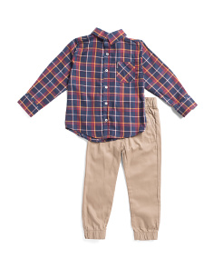 Little Boys 2pc Woven Top And Jogger Set