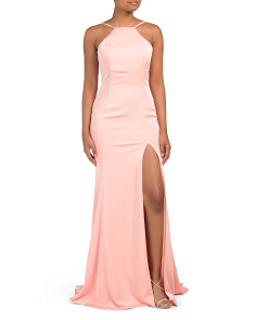 High Slit Low Back Gown