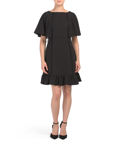 Crepe Cocktail Dress With Flounce Hem