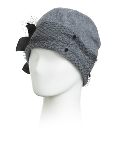 Made In Italy Felt Beanie With Veil