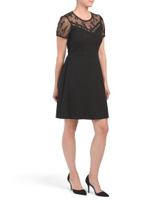Stretch Crepe Dress With Lace Detail