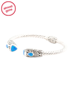 Made In Bali Sterling Silver Opal Accent Filigree Bracelet