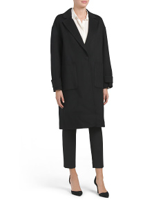 Wool Blend Easy One Button Coat
