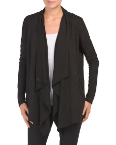 Long All Over Faux Suede Drape Jacket