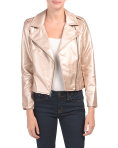 Juniors Metallic Faux Leather Moto Jacket