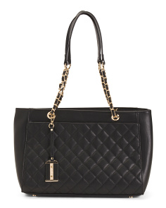 Quilted Tote With Chain Handles