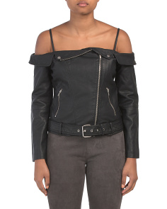 Juniors Off The Shoulder Faux Leather Jacket