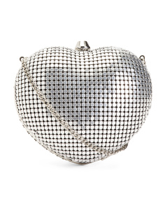 Metal Mesh Heart Frame Clutch