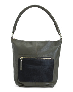 Leather Hobo With Faux Fur Detail