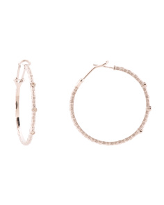 Sterling Silver Diamond Textured 38mm Hoop Earrings