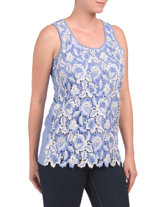 Scoop Neck Lace Front Tank