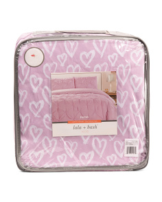 3pc Reversible Pin Tuck & Heart Duvet Set