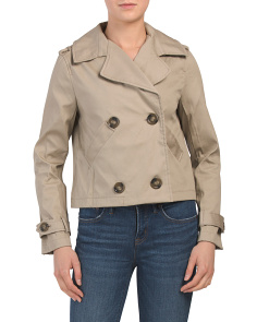 Juniors Cropped Trench Coat