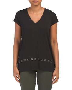 V-neck Tunic With Grommets