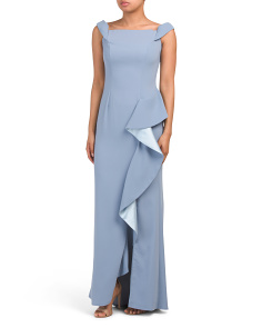 Ruffle Front Crepe Gown