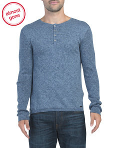 Long Sleeve Ribbed Detail Henley