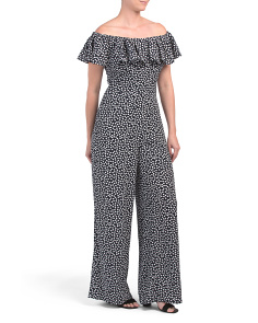 Off The Shoulder Dot Jumpsuit