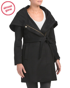 Wool Blend Cowl Collar Wrap Coat