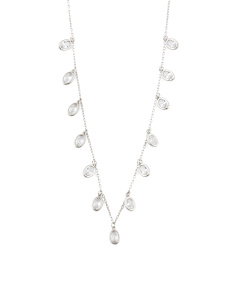 Sterling Silver Oval Cz Necklace