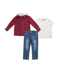 Little Boys 3pc Plaid Hoodie And Denim Pant Set