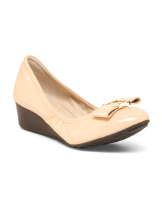 Leather Comfort Wedges With Bow Detail