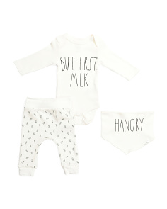 Baby 3pc Pant Set With Bib