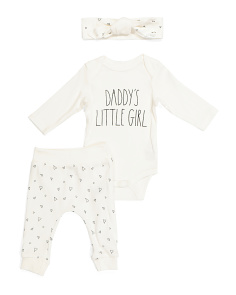 Baby 3pc Pant Set With Headband