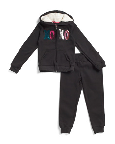 Little Girls 2pc Sequin Logo Fleece Set