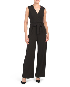 Made In Italy Tie Front Crossover V-neck Jumpsuit