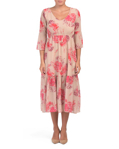 Made In Italy Floral Print Midi Dress
