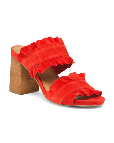 Rosie Ruffle Stacked Heel Suede Sandals