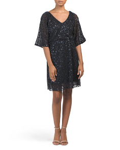 Made In Italy Sequined Blouson Cocktail Dress