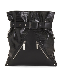 Large Belted Croc Embossed Backpack