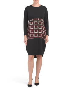 Made In Italy Novelty Knit Abstract Square Insert Dress