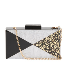 Triangle Pattern Lucite Clutch