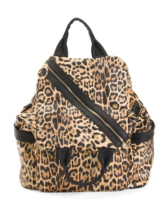 Asymmetrical Zip Animal Print Backpack