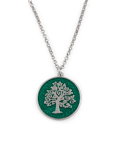 Made In Italy Sterling Silver Enamel Tree Of Life Necklace