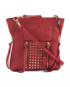 Eve Studded Front Pocket Leather Crossbody