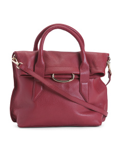 Leather Montreal Medium Foldover Satchel