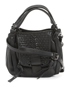 Jonnie Small Woven Leather Crossbody