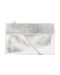 Molly Metallic Leather Crossbody Clutch