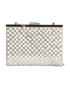 Alexis Framed Pearl And Crystal Lattice Clutch