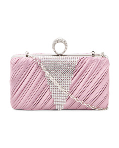 Noelle Pleated Satin Minaudiere Clutch