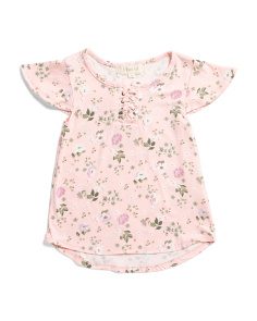 Little Girls All Over Floral Lace Up Top