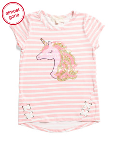 Little Girls Sequin Unicorn Lace Up Top