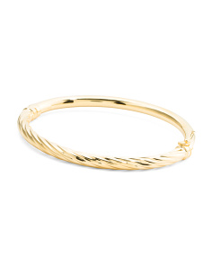 Made In Italy 14k Gold Plated Sterling Silver Twist Bangle Bracelet