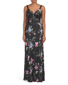 Floral Satin Ruched Maxi Dress