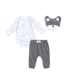 Baby Boys 3pc Bear Bodysuit Set