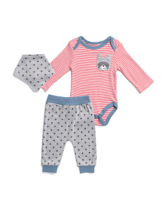 Baby Boys 3pc Raccoon Stripes Bodysuit Set